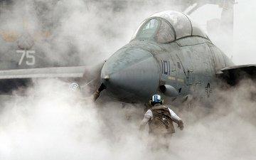 дым, истребитель, f-18, авианосец