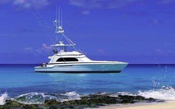 яхта, белая, рыбалка