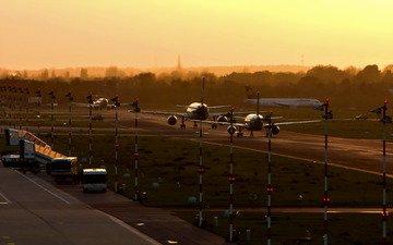 утро, самолеты, аэропорт, пооса