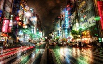 дорога, ночь, машины, здания, японии, токио