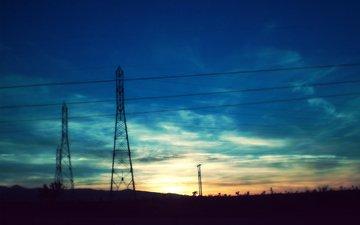 вечер, провода, закат