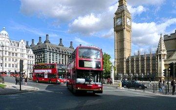 лондон, телефонная будка, автобус, биг бен, автобусы