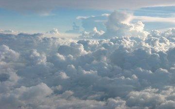 небо, облака, белый, голубой
