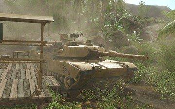 пальмы, танк, crysis, хижина