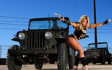 wire, girl, weapons, blonde, machine, auto, jeep