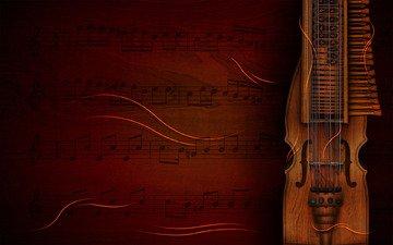 фон, ноты, инструмент, скрипичный