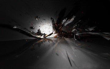 черный, осколки, взрыв