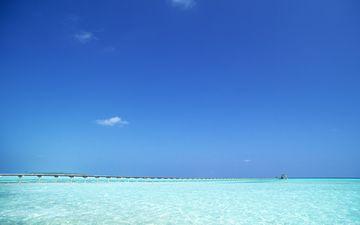 небо, горизонт, причал, голубой, океан