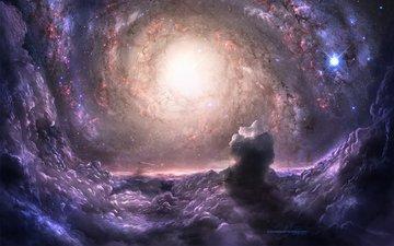 галактики, скопления, galaxies, космическая, звезд, лиловая