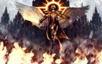 девушка, фентези, собор, меч, огонь, крылья, ангел, игра, броня, доспехи, warhammer 40000, святой, нимб, цепи, мученица