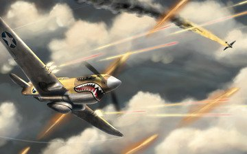 война, самолеты, бой, акула, aces high, баталиянебо
