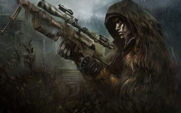 оружие, снайпер, дождь, винтовка, солдат, засада, камуфляж