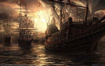 ships, gun, battle