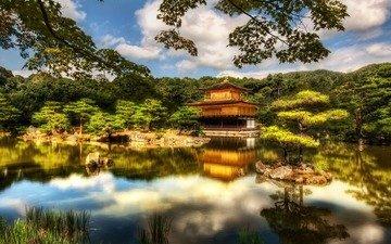 храм, япония, киото, японии, павильон, голден