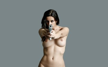 girl, gun, the barrel, nude breast