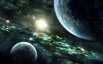 земля, звезды, планеты, вс, nebulae, planets, космическая, колец, звезд