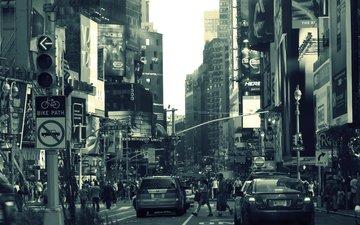 люди, серый, нью-йорк, машины, здания, реклама