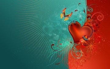 обои, узор, бабочка, сердце