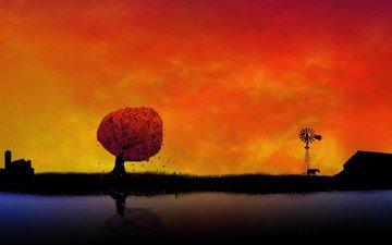 закат, фон, оранжевый, обоя, село