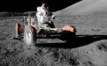 космос, обои, луна, космонавт, nasa, лунный автомобиль