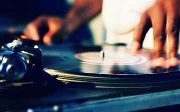 музыка, пластинка, руки, ди-джей, вертушки