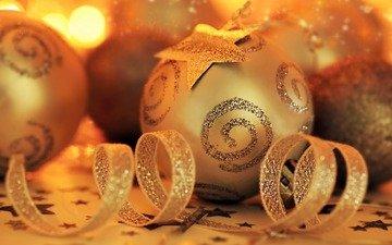 новый год, обои, украшения, настроение, фон, картинка, праздник, рождество, золото, ленты, елочные