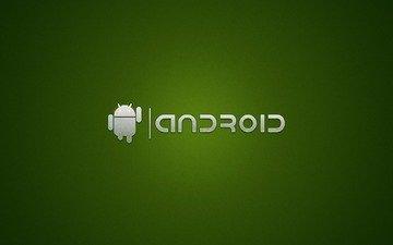 зелёный, надпись, робот, андроид
