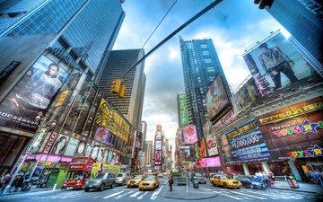 люди, небоскребы, нью-йорк, машины, перекресток, высотки