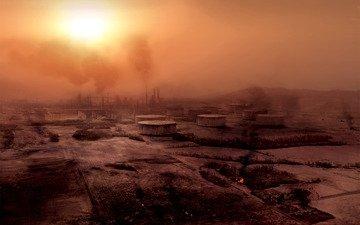 солнце, смог, разрушение, заводы, промзона