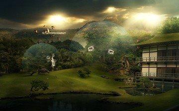 озеро, природа, животные, мост, круги, дом, уют