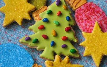 елка, сладости, печенье, выпечка