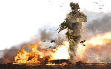 война, огонь, солдат
