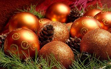 шары, игрушки, праздник, рождество, шишки