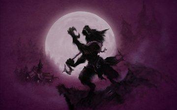 луна, волки, оборотень, moon, лиловая