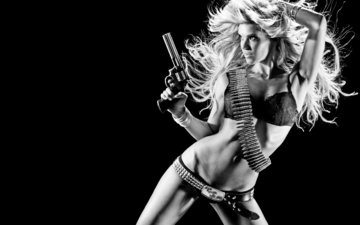 girl, blonde, black and white, cartridges, weapon