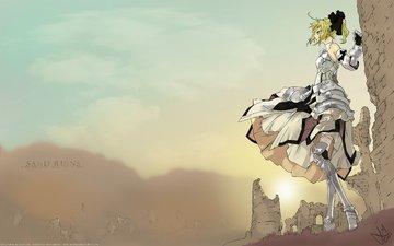девушка, взгляд, руины, ветер, sand ruins