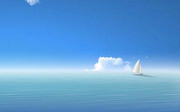небо, море, парусник