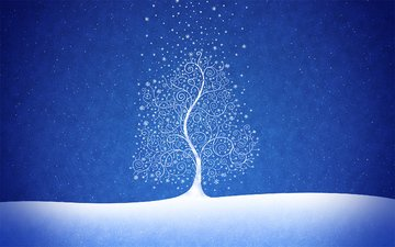 snow, tree, new year, blue