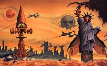 water, the city, planet, praying mantises, rodney matthews