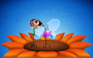 flower, butterfly, wings, caterpillar, vladstudio