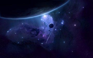 свет, корабли, звезды, планеты, туманность, спутник, planets, космическая, spacecrafts, материя, звезд