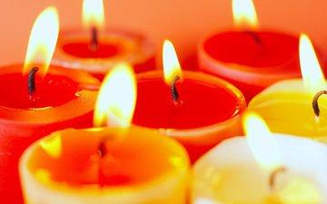 свечи, пламя, огонь