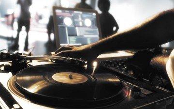 музыка, пластинка, ди-джей, вертушки