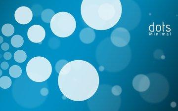 круги, белые, минимал, синий фон
