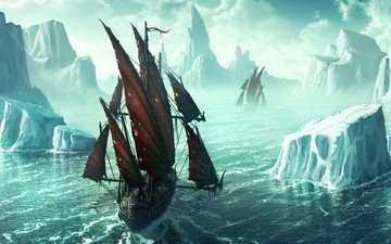 figure, ship, iceberg, kerem beyit, ice