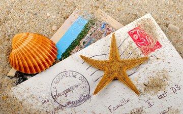 песок, письмо, ракушка, морская звезда