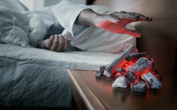 hand, coal, the fire, alarm clock