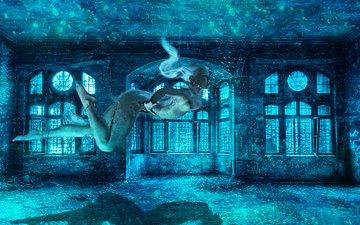 вода, девушка, фантастика, комната, под водой