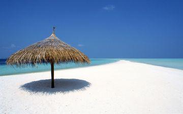 песок, океан, коса, зонтик, солома, белоснежный
