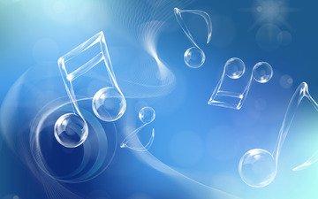 настроение, ноты, голубой